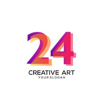 Conception de dégradé de logo 24 numéros coloré