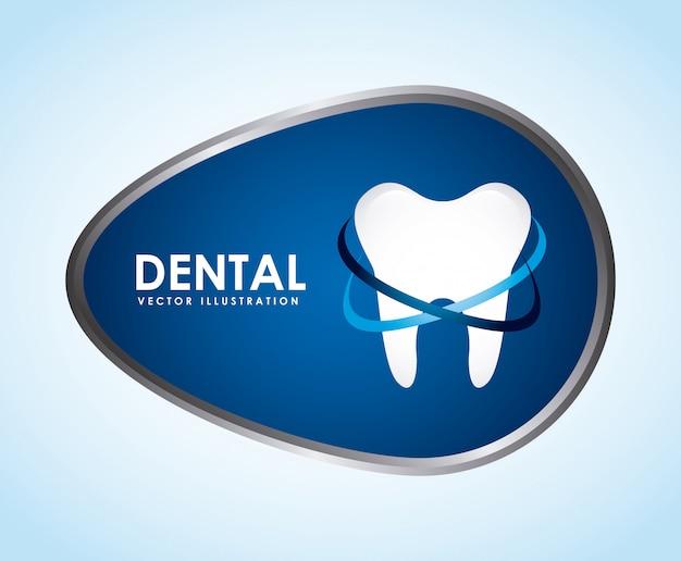 Conception dentaire sur illustration vectorielle fond bleu