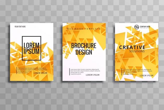 Conception de dépliant abstrait polygone orange créatif mis conception