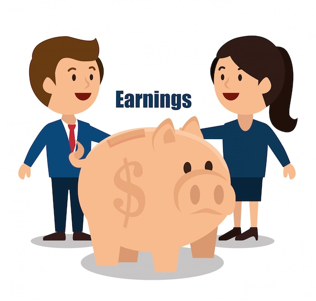 Conception de dessin animé argent gains isolé