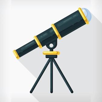 Conception de dessin animé d'astronomie de télescope de style plat