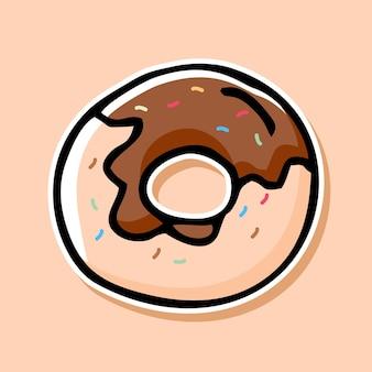 Conception de dessin animé de beignet dessiné à la main