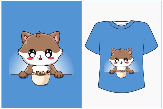Conception de dessin animé de chat heureux pour tshirt
