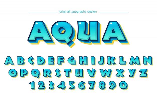 Conception de dessin animé coloré bleu typographie