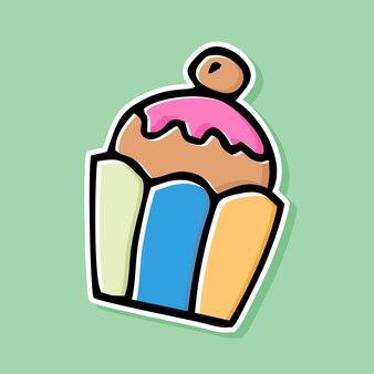 Conception de dessin animé cupcake dessiné à la main