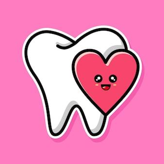 Conception de dessin animé de dent et d'amour