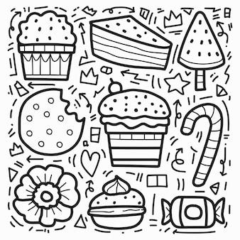 Conception de dessin animé de desserts doodle dessinés à la main