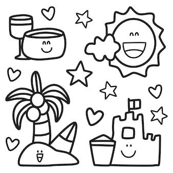 Conception de dessin animé de doodle kawaii d'été