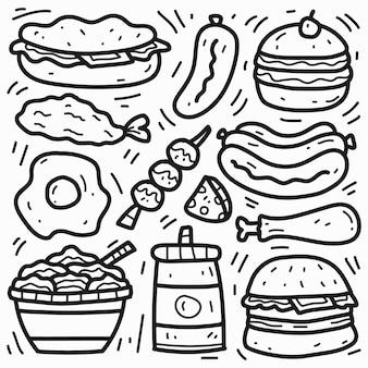 Conception de dessin animé de doodle de nourriture kawaii dessiné à la main