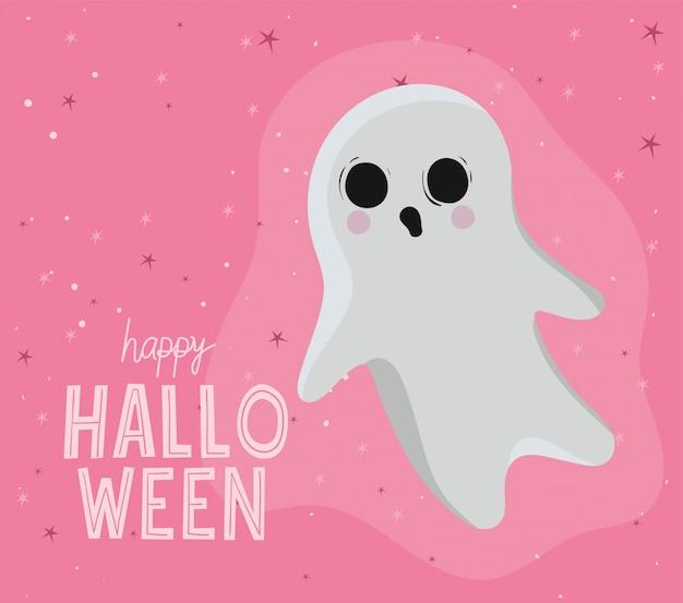 Conception de dessin animé de fantôme halloween, thème de vacances et effrayant