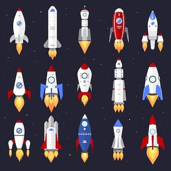 Conception de dessin animé de fusée de navire de technologie.