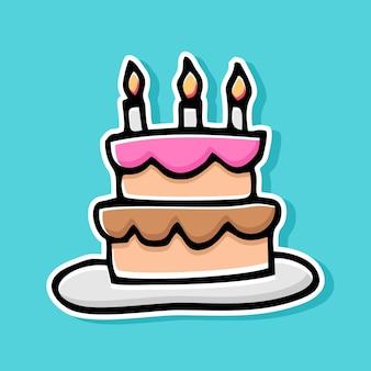 Conception de dessin animé de gâteau dessiné à la main