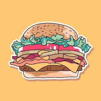 Conception de dessin animé de hamburger