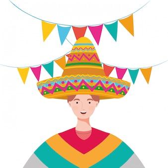 Conception de dessin animé de l'homme mexicain, mexique culture tourisme historique point de repère latin et parti illustration vectorielle