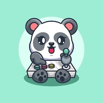 Conception de dessin animé de jeu de panda mignon