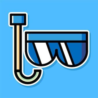Conception de dessin animé de lunettes de plongée