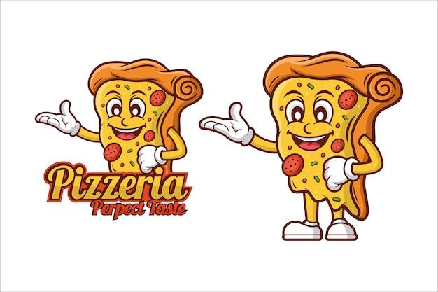 Conception de dessin animé de mascotte de goût parfait pizzeria