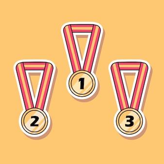 Conception de dessin animé de médailles mignonnes