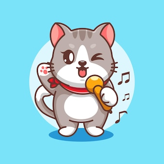 Conception de dessin animé mignon chat chantant