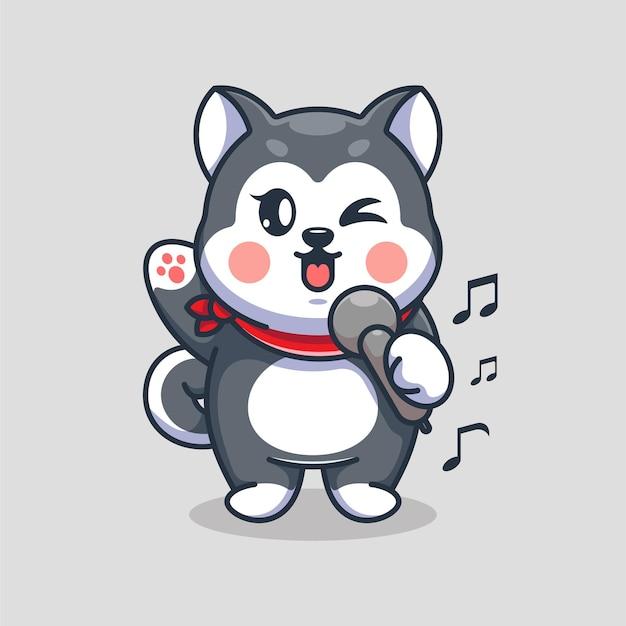 Conception de dessin animé mignon chien husky chantant