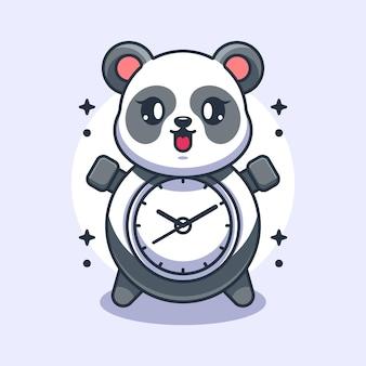 Conception de dessin animé mignon horloge panda