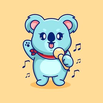 Conception de dessin animé mignon koala chantant