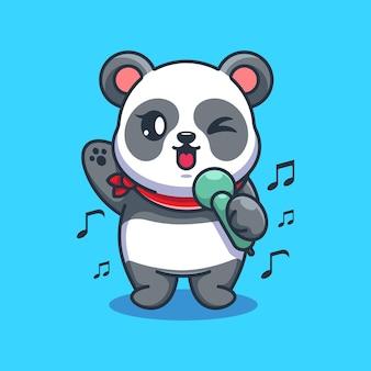 Conception de dessin animé mignon panda chantant