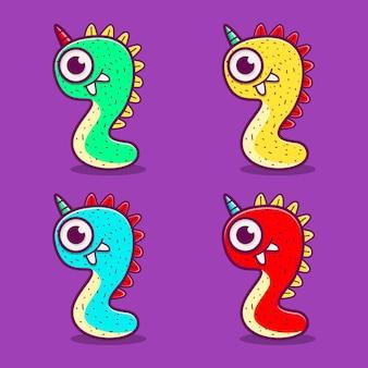 Conception de dessin animé de monstre doodle kawaii