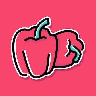 Conception de dessin animé de paprika rouge