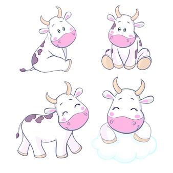 Conception de dessin animé de personnage mignon de vache