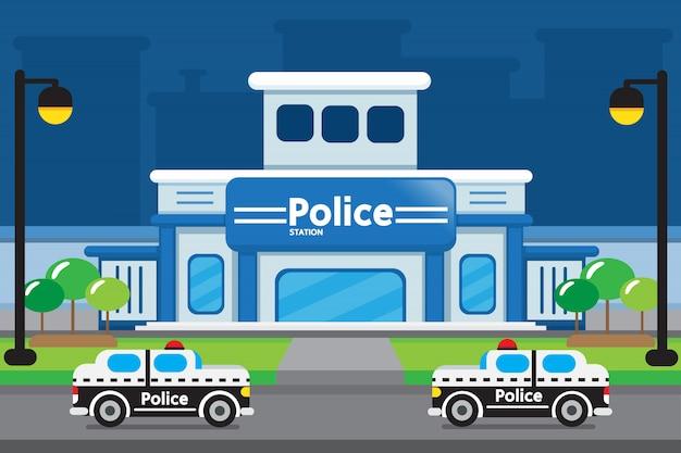 Conception de dessin animé de poste de police.