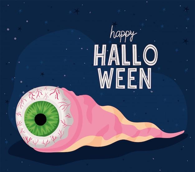Conception de dessin animé pour les yeux d'halloween, vacances et thème effrayant