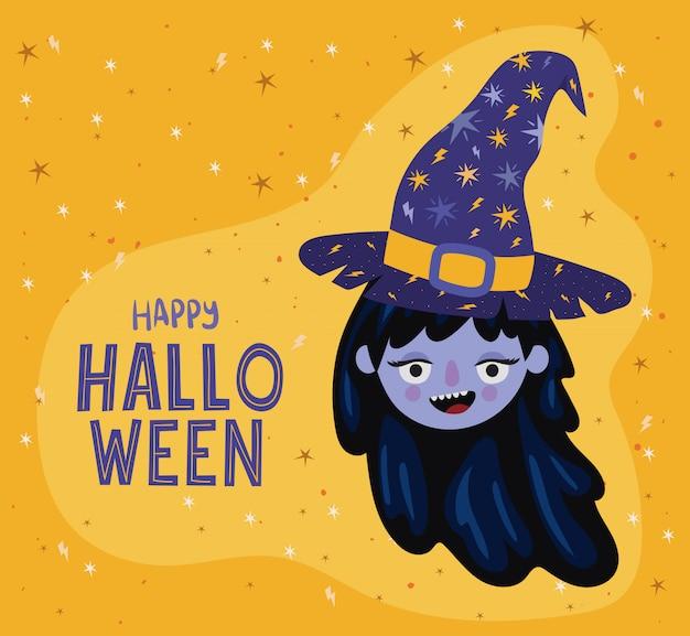 Conception de dessin animé de sorcière halloween fille, vacances et thème effrayant