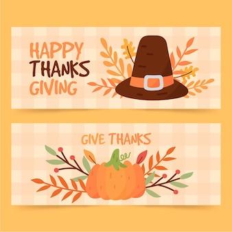 Conception dessinée à la main de bannières de thanksgiving