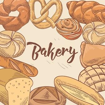 Conception dessinée à la main de boulangerie avec différents pains frais et miches