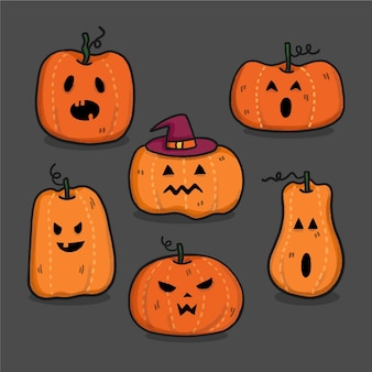 Conception dessinée à la main de citrouilles d'halloween