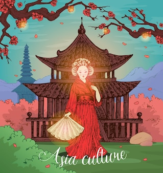 Conception dessinée à la main de la culture asiatique