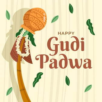 Conception dessinée à la main gudi padwa