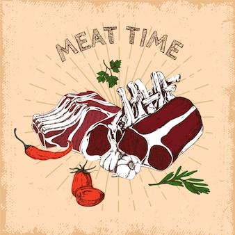 Conception dessinée à la main de temps de viande