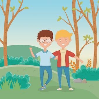 Conception de dessins de l'amitié des garçons