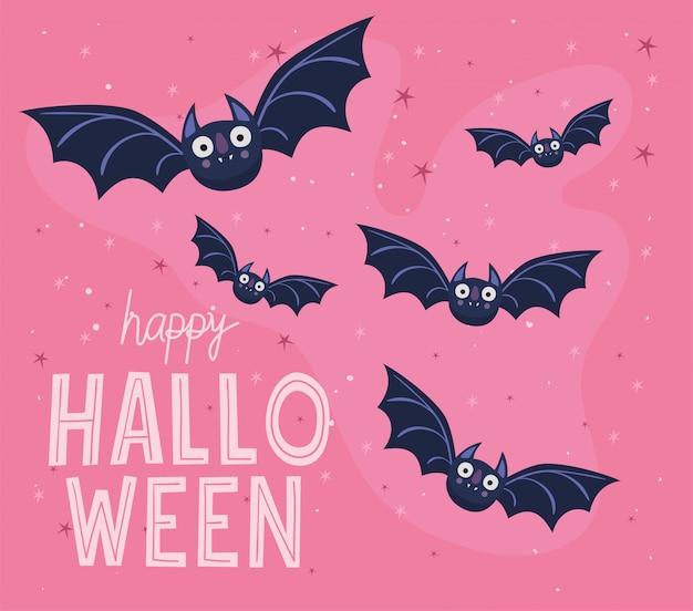 Conception de dessins animés de chauves-souris d'halloween, thème de vacances et effrayant