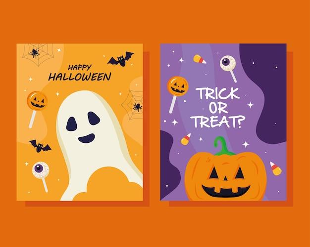 Conception de dessins animés de citrouille et de fantôme d'halloween, thème de l'halloween.