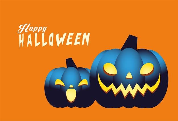 Conception de dessins animés de citrouilles bleues d'halloween, thème de vacances et effrayant