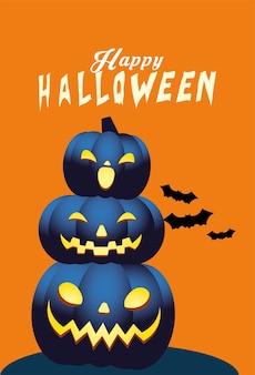 Conception de dessins animés de citrouilles bleues halloween