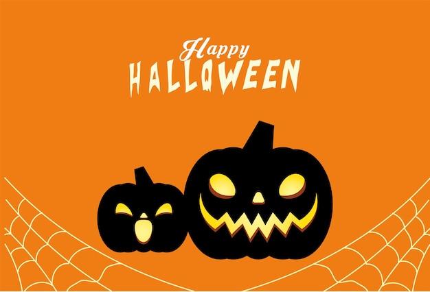 Conception de dessins animés de citrouilles noires d'halloween, thème de vacances et effrayant