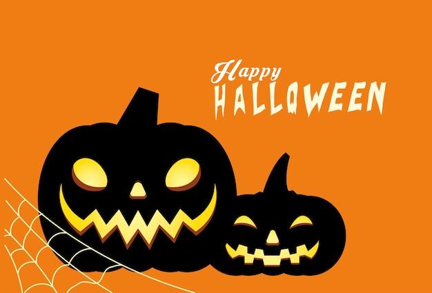 Conception de dessins animés de citrouilles noires d'halloween