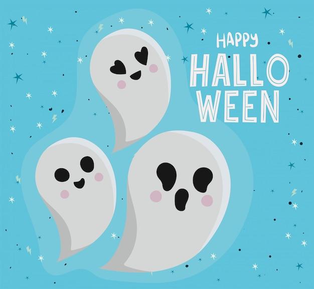 Conception de dessins animés de fantômes d'halloween, thème de vacances et effrayant