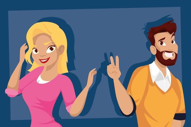 Conception de dessins animés femme et homme blond, personnes personne et thème humain illustration vectorielle