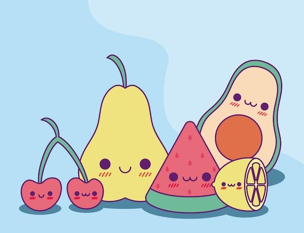 Conception de dessins animés de fruits kawaii