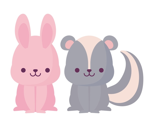 Conception de dessins animés de lapin et de mouffette kawaii